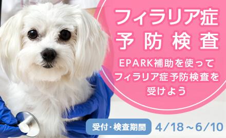 EPARK会員様限定!口コミ投稿を条件にフィラリア症予防検査にかかる費用の一部をEPARKが補助